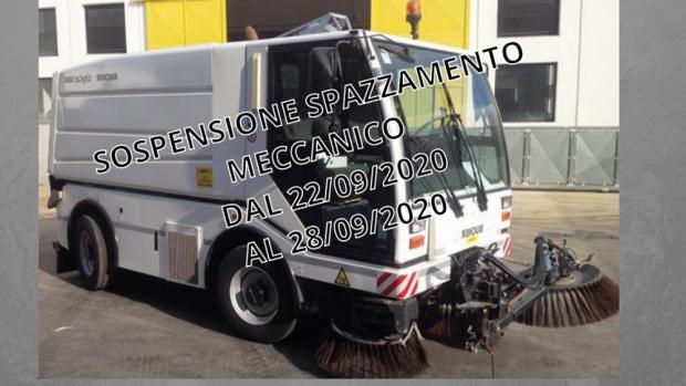 Avviso sospensione servizio pulizia meccanizzata delle strade e viali pubblici - dal 22/9 al 28/9/2020