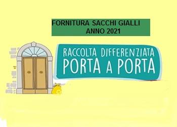 COMUNICAZIONE RITIRO FORNITURA SACCHI GIALLI ANNO 2021