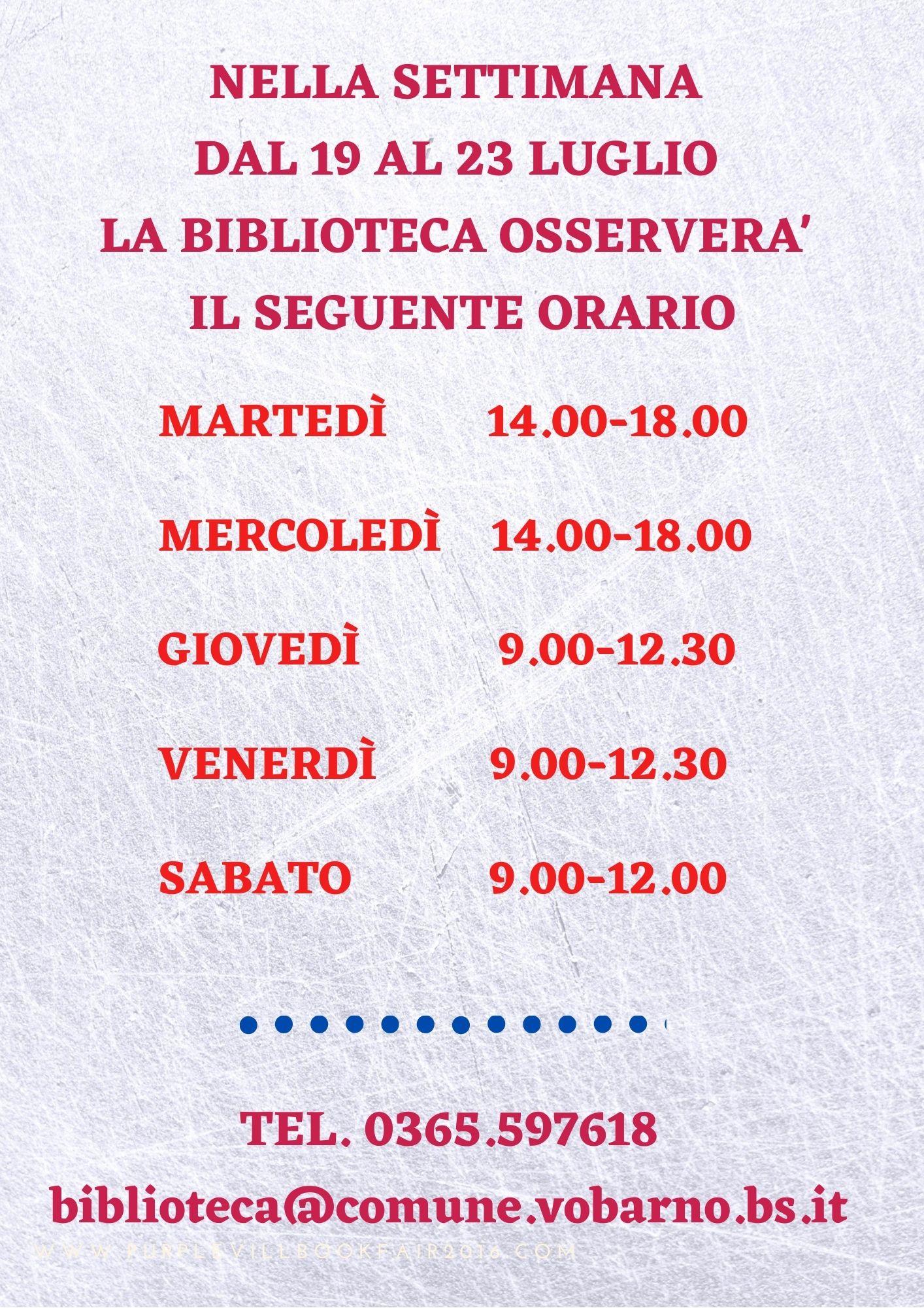 ORARIO RIDOTTO DELLA BIBLIOTECA COMUNALE DAL 19 AL 23 LUGLIO