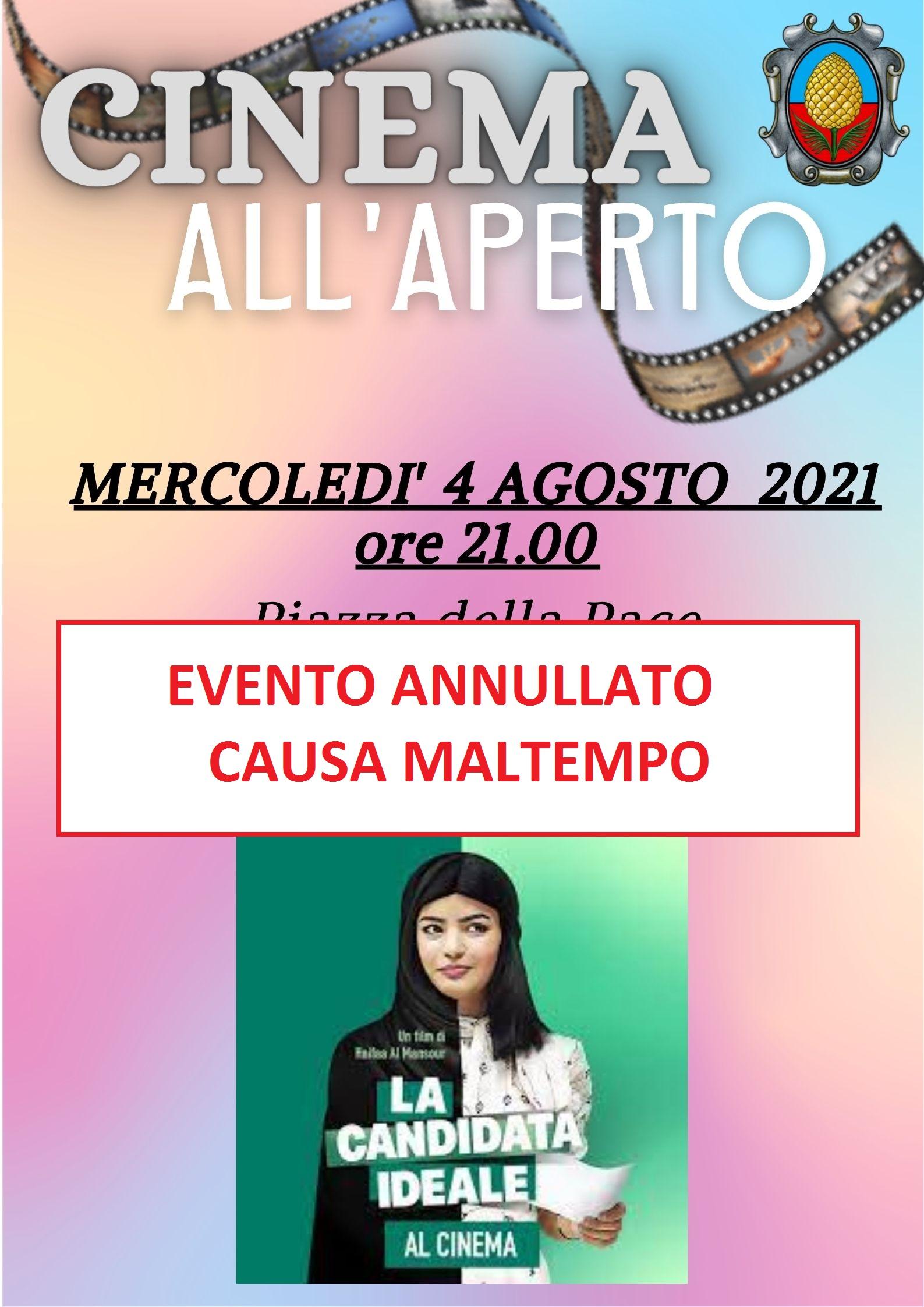 EVENTO ANNULLATO CAUSA MALTEMPO - Cinema all'aperto – mercoledì 4 agosto 2021