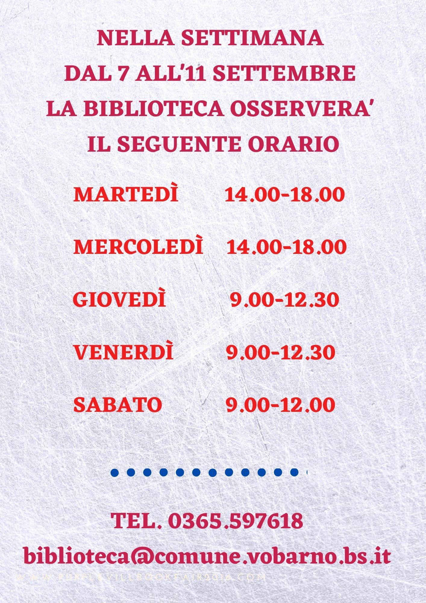 ORARIO RIDOTTO DELLA BIBLIOTECA COMUNALE nella settimana dal 7 all'11 settembre 2021