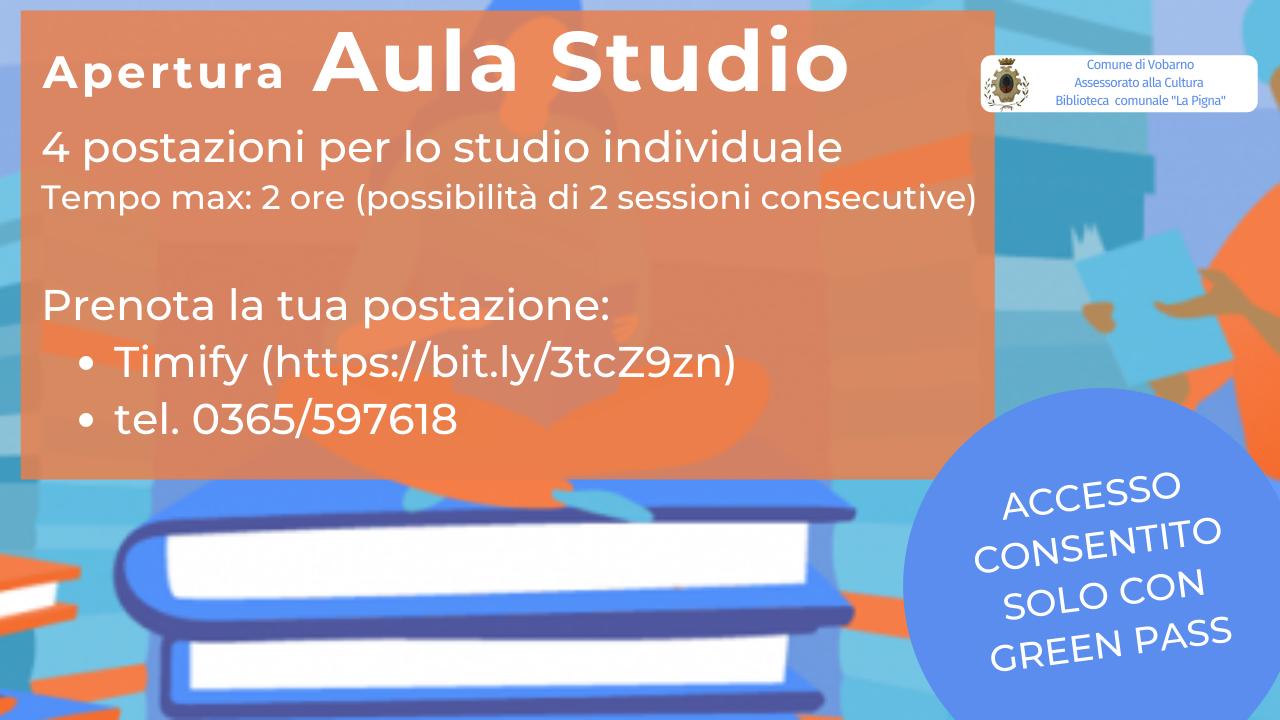 Riapre L\'Aula Studio della Biblioteca Comunale di Vobarno da giovedì 23 settembre 2021
