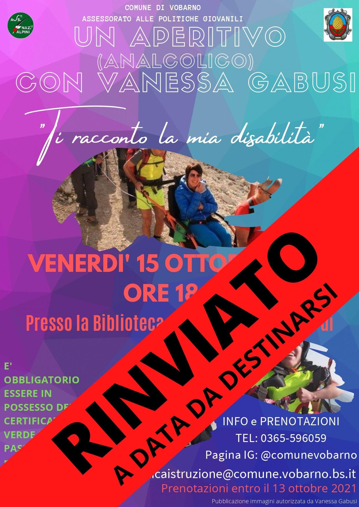 EVENTO ANNULLATO- Un Aperitivo (Analcolico) Con Vanessa Gabusi - Venerdi\' 15 Ottobre 2021 ore 18,30