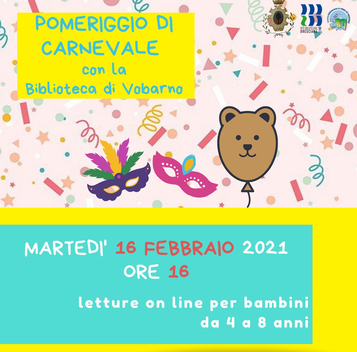 Pomeriggio Di Carnevale Con La Biblioteca  16-02-2021 ore 16,00